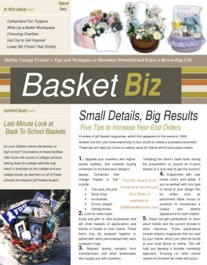 Subscribe to Basket Biz newsletter for gift basket business designers