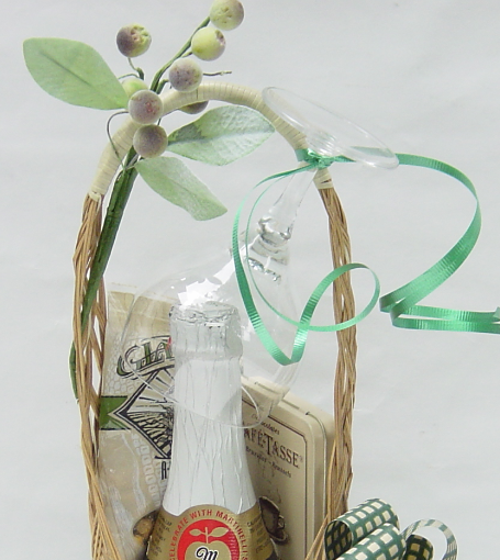How to make a bottle stand up in gift baskets, by Shirley George Frazier. All rights reserved.