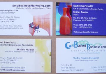 Three Things Not to Include on Your Business Card, by Shirley George Frazier. All rights reserved.